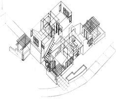 Arkansas Townhouse Axonometric – 1996 – Michael Grogan Architect