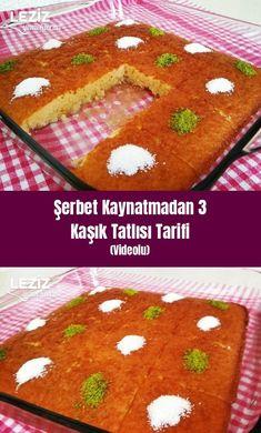 Sherbet 3 Spoon Dessert Recipe (Video) – My Delicious Food - Kuchen Sorbet, Turkish Sweets, Fast Food, Dessert Recipes, Desserts, Dessert Food, Turkish Recipes, Food Videos, Tart
