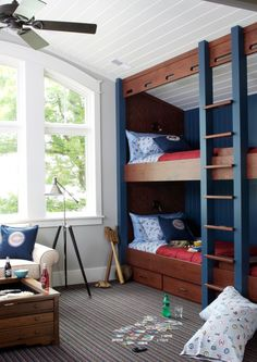 Espresso wood and navy for bunk bed frame.