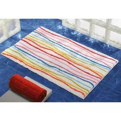 Bathroom Rug, Gedy 95-3160, 24 x 40 Inch Bathroom Mat Rainbow or Blue Striped 95-3160