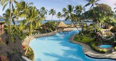 #Hilton Waikoloa Village features a tropical-themed pool where guests can escape to a Hawaiian paradise.