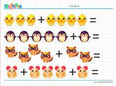fichas de sumas para niños con dibujos de animales