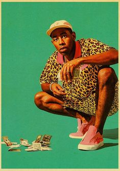 Tyler The Creator Flower Boy Band Music Cover Hip Hop Rapper Retro Poster Art Painting for Home/ Room/Bar Decor Wall Stickers - 42X30CM no frame-05 / E192
