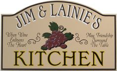 Kitchen Wall Plaques | ... Kitchen Sign with Grapes | Vintage Kitchen Plaque | Kitchen Wall Decor