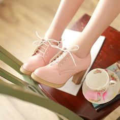 Lace-Up Heeled Oxfords - Pastel Pairs   YESSTYLE