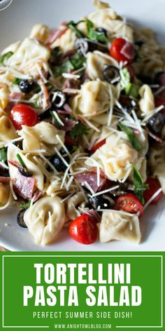Tortellini Pasta Salad - a delicious Italian twist on the classic pasta salad. A real crowd-pleaser! Quick Pasta Recipes, Pasta Salad Recipes, Quick Easy Meals, Cooking Recipes, Steak Recipes, Easy Recipes, Summer Salads With Fruit, Summer Salad Recipes, Summer Food