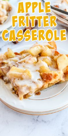If you love apple fritters, you'll love this Apple Fritter Breakfast Casserole. Sautéed apples, croissants and icing all taste like fall! This easy breakfast casserole can be made ahead of time and is absolutely delicious! #breakfast #casserole #breakfastcasserole #apple #applefritter #applefritterbreakfastcasserole #applefritterrecipe #recipe #numstheword #grannysmithapples Fruit Recipes, Yummy Recipes, Dessert Recipes, Apple Fritter Recipes, Apple Recipes, Gourmet Desserts, Desserts To Make, Croissant Breakfast Casserole, Good Food