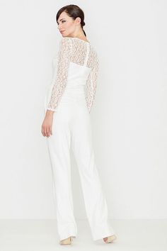 This is a long sleeve white jumpsuit with lace sleeves. White Long Sleeve Jumpsuit, White Jumpsuit, Lace Sleeves, Fashion Addict, Romania Bucharest, Street Wear, Street Style, Stylish, Womens Fashion