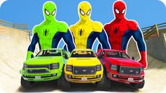 SPIDERMAN COLORS & MONSTER TRUCK COLORS PARTY Funny Cartoon & Nursery Rh...