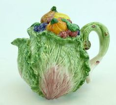 #FitzandFloyd Cabbage Leaf Teapot with Lid - Handpainted Ceramic. Order today from #GreatSkyGifts on #eBay: http://stores.ebay.com/Great-Sky-Gifts?refid=store #Teapot #Ceramic #Handpainted