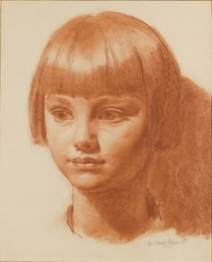 Jenny, 1925 by Gerald Leslie Brockhurst, (English 1890-1978) Red chalk drawing on paper l 38.4 x 28.9 cm