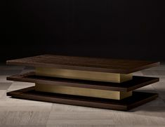 Nella Vetrina Ilo Luxury Italian Coffee Table in Mocha Oak Wood