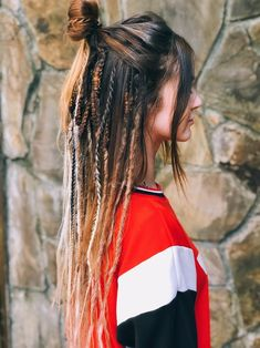 Synthetic Dreads, Boho style mix of smooth and crochet DE dreadlocks and braids Natural Brown to blond with beads Dreadlocks Girl, Crochet Dreadlocks, Dread Braids, Synthetic Dreadlocks, Crochet Braids, Girl With Dreads, Half Dreads, Partial Dreads, Long Dreads