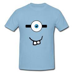 5d85ca6895d2 Geek Minions Face Sky Blue Adult Standard Weight T-shirt For Men  Shop-Official