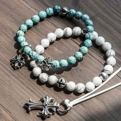 New series of elastic beads bracelets available on www.jai-dam.com, men jewelry, jewelry, style, turquoise, howlite fashion skull cross silver sterling silver