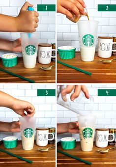 first four steps to make an iced white chocolate mocha Starbucks Iced White Chocolate Mocha Recipe, Iced White Mocha, Starbucks Peppermint Mocha, White Chocolate Sauce, Starbucks Recipes, Coffee Recipes, Rum Cocktail Recipes, Mocha Coffee, Summertime Drinks