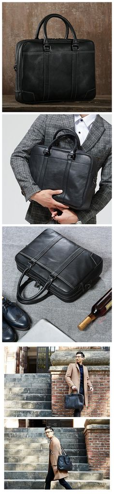 Handmade Top Grain Leather Briefcase Men's Business Bag Laptop Bag Messenger Bag GET01