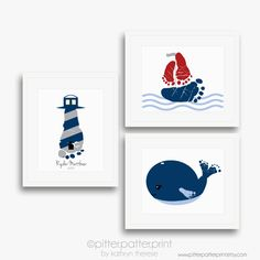 Nautical Nursery Art Print Set Baby Footprint by PitterPatterPrint