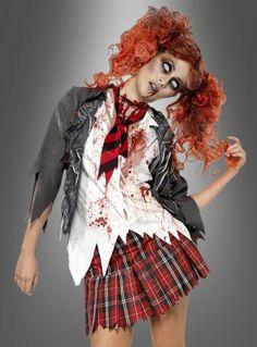 Zombie Schulmädchen mit blutiger Schuluniform bei Kostümpalast GmbH