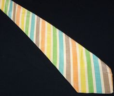 Vintage 70s Extra-Wide Pastel Rainbow Stripes Ivory Woven Linen Necktie Medcrest…
