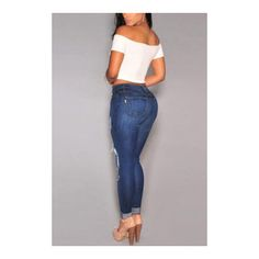 Fashion High Waist Four Pockets Skinny Shredded Ripped Jeans (58 BAM) ❤ liked on Polyvore featuring jeans