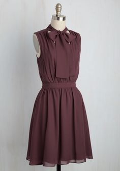 You've patiently awaited a style as sweet as this muted plum dress, and now that it's arrived, you'll wear it everywhere! Part of our ModCloth namesake label, this chiffon frock features a tied neckline, a keyhole-touched back, and a gathered waist, making for a beautiful look that adds a touch of eternal elegance to your wardrobe.