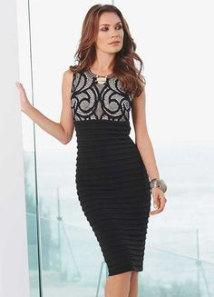 Kaleidoscope Lace Top Dress - Beautiful fitted little black dress with lace  detail, Perfect party