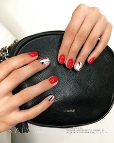 36 amazing beautiful nails designs - queen's top 2019 in 2019 Short Nail Designs, Nail Art Designs, Short Nails, Long Nails, Red Nails, Hair And Nails, Cute Nails, Pretty Nails, Nailart