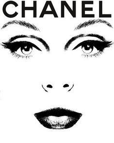 Chanel Black and White Deco Haute Couture Face Print Poster | eBay