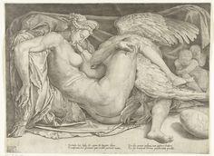Cornelis Bos | Leda en de zwaan, Cornelis Bos, c. 1544 - c. 1545 | Leda is halfliggend, met de zwaan (Jupiter)  tussen haar benen, afgebeeld. Ze kussen elkaar. Rechts zitten Castor en Pollux, de kinderen die uit deze verbintenis zijn ontstaan. Op de grond ligt nog een ei. Volgens het Latijnse vers in de ondermarge zit in dit ei het meisje Helena. Dit is Helena van Troje eveneens een dochter van Leda en Jupiter.