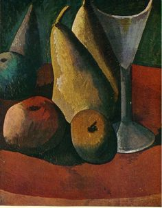 Glass and fruits 1908    Pablo Picasso
