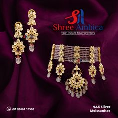 Witness the Majestic radiance of this 92.5 silver, Moissanite and Polki encrusted necklace set. A piece of timeless jewellery available at Shree Ambica - Your Trusted Jewellers. Pick this for the upcoming festive/wedding season. Readily available in stock For Price and Details Message on - +919866110500 #ShreeAmbica #TrustedJewellers #SilverJewellery #indianbride #indianwedding #jewelryaddict #handcraftedjewellery #finejewellery #weddingsutra #jewelryforsale #jewelryswag Silver Jewellery, Fine Jewelry, Wedding Sutra, Moissanite, Wedding Season, Necklace Set, Handcrafted Jewelry, Festive, Seasons