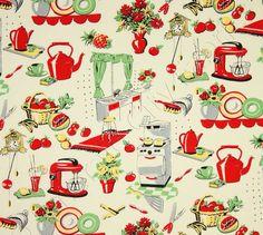 Michael Miller Fabric  Fifties Kitchen  Retro Kitchen Appliances On Cream   Novelty Fabric