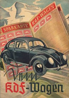 VINTAGE SIGN SCHILD PLAKAT KARTON DER KDF WAGEN BREZEL KÄFER NOSTALGIE 1938