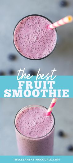 An easy fruit smoothie recipe everyone will love! Learn how to make a fruit smoothie that is healthy, delicious and quick to make. Frozen Fruit Smoothie, Healthy Fruit Smoothies, Homemade Smoothies, Yummy Smoothie Recipes, Yummy Smoothies, Healthy Fruits, Drink Recipes, Healthy Meals, Quick Healthy Breakfast