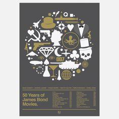50 Years of Bond print via Fab.
