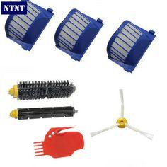 NTNT 3x Robot Filter,1x Side Brush,2X Beater Brush Kit Replacement for iRobot Roomba 600 Series 595 620 630 650 660,7 pcs/lot #Affiliate