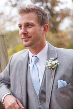 & Ben's Wedding at Davies Manor Plantation Grey Suit with Light Blue Tie and Baby's Breath Boutonniere Grey Tuxedo Wedding, Wedding Tux, Chic Wedding, Trendy Wedding, Wedding Ideas, Wedding Vintage, Gold Wedding, Wedding Photos, Dream Wedding