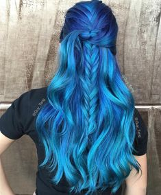 """Ocean Waves mixing variations of blue, green and clear! Are you doing hair today!"" Long blue hair. So pretty!"