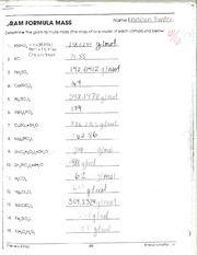 Chemistry Formula Mass Worksheet F Jram Formula Mass