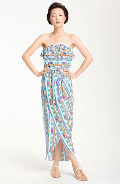 maxi dress with tulip skirt (Amanda Uprichard 'Joan' Strapless Ruffle Silk Maxi Dress)