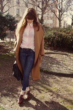 This winter, boy fit coat, uniqlo shirt, jeans and brogues