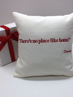 'No Place Like Home' Pillow  Housewarming, Realtor Closing Gift  by Wicked Stitches Embroidery