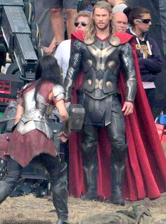 Chris Hemsworth: 'Thor Begins Filming - First Set Pics!: Photo Chris Hemsworth is back in the suit as he films scenes for his upcoming superhero flick Thor: The Dark World on Tuesday (September in Surrey, England. Lady Sif Cosplay, Thor Cosplay, New Thor, Loki Thor, Jaimie Alexander Thor, Thor 2011, Chris Hemsworth Thor, The Dark World, Marvel Movies