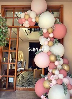 A pretty pink, white and gold balloon garland for an birthday. A pretty pink, white and gold balloon garland for an birthday. Bridal Shower Balloons, Wedding Balloons, Birthday Balloons, Birthday Parties, Birthday Diy, Birthday Ideas, Jumbo Balloons, White Balloons, Baloon Garland