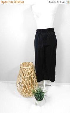 50% OFF FALL SALE Vintage 90s Black Velvet Pleated High Waist Stretch Minimal Wide Straight Leg Gothic Pants Trousers Capri Bottoms Medium by WearingMeOutVtg on Etsy