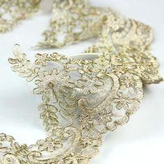 "Golden Small Beautiful Flower Mesh Lace Trim 15cm(5.9"")"