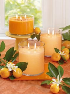 Mehukas klementiini 3-sydänkynttilä Saftig klementin 3-veksglasljus, PartyLite, doftljus, tuoksukynttilä. #partylite #candles #decoration #spring #kevät #vår