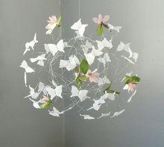 White Butterfly Mobile Baby Crib Mobiles Nursery Mobile Nursery Art. $49.00, via Etsy.