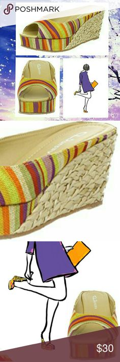 """CL by Laundry Wedges CL by Laundry Date Night Wedges  Super Cute 'Chinese Laundry' Wedges  -Orange Multi Canvas upper •Shades Of Orange, Gold, Tan, Green, Purple  -Wedge Sandals -Raffia Wedge Heel -3.5"""" wedge -1.5"""" platform   •NEW condition,  no box• Chinese Laundry Shoes Wedges"""